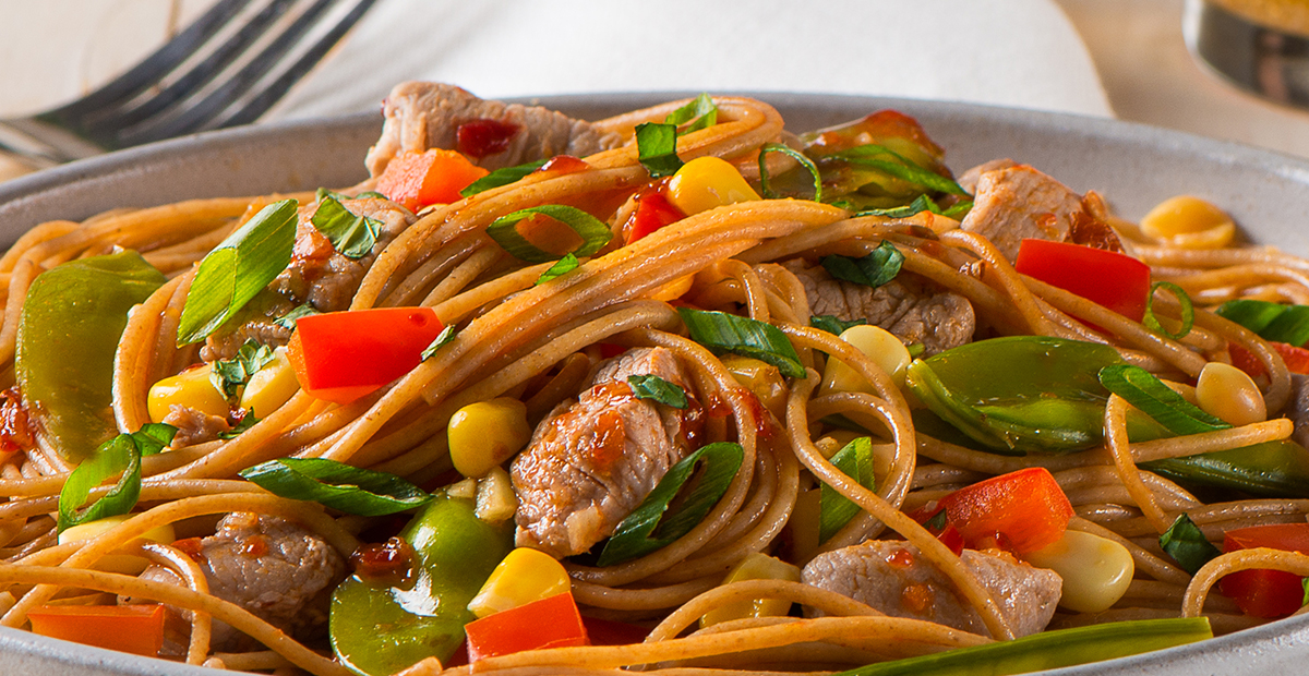 Spaghettini with Pork Tenderloin and Chili Garlic Sauce