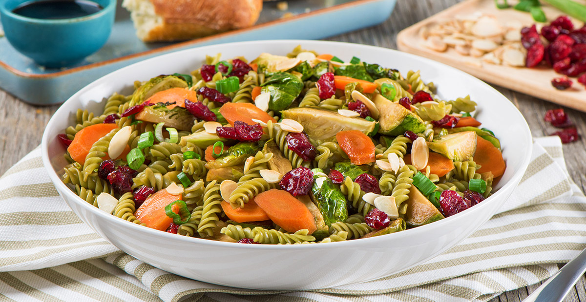 Maple-Soy Glazed Brussels Sprouts with Fusilli