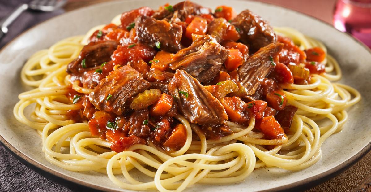 Gluten Free Tuscan Braised Beef Spaghetti