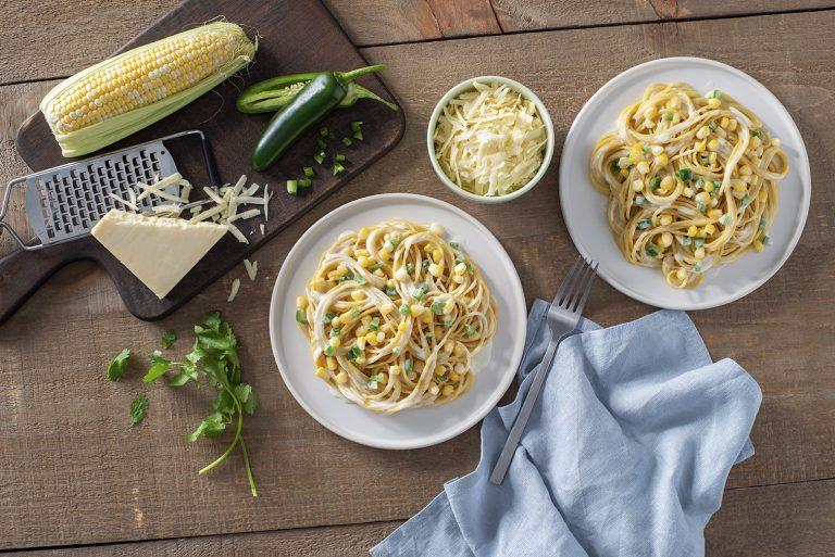 Creamy Spaghetti with Corn & Jalapeno