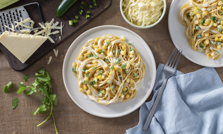 Creamy Spaghetti with Corn & Jalapeno